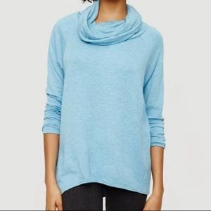 Lou & Grey Cowl Neck Blue Long Sleeve Sweater Med